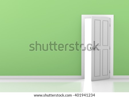 green wall with opened white door 3d rendering - stock photo