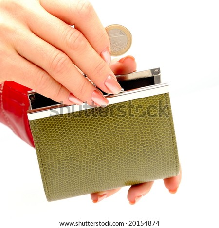 green wallet and coin in woman hand against white background