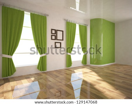 green walls and green curtains - stock photo