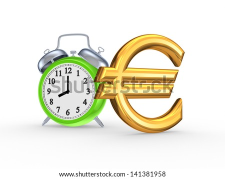 Green watch and sign of euro.Isolated on white.3d rendered. - stock photo