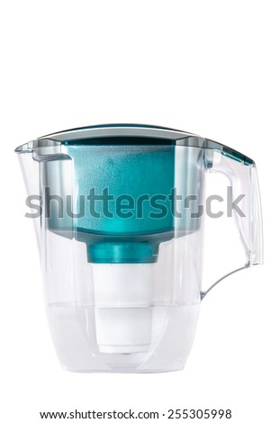 Green water filter isolated on white background. - stock photo