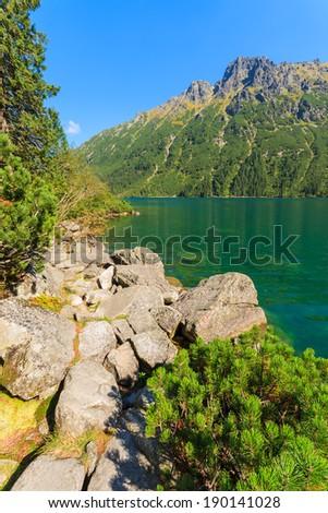 Green water Morskie Oko alpine lake on sunny day, High Tatra Mountains, Poland - stock photo