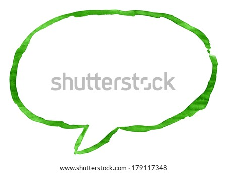 Green watercolor empty speech bubble sign. Empty oval dialog shape isolated on white background. Aquarelle template backdrop created in handmade technique on paper material - stock photo