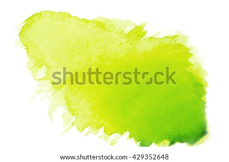 Green watercolor on paper - stock photo