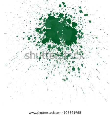 Green watercolor splashes on white background - stock photo
