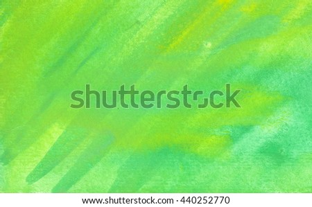 Green watercolor striped texture background. Hand paint brush texture.