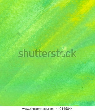 Green watercolor striped texture background. Hand paint brush texture. Grunge paper. Spring, summer theme backdrop for scrapbook elements with space for text. - stock photo