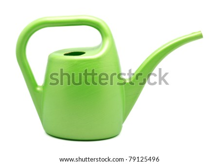green watering can isolated on white background - stock photo
