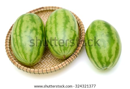 green watermelon isolated on white background