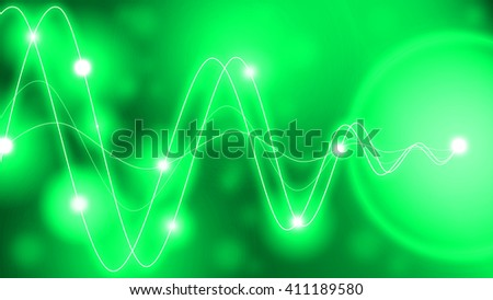 Green waveforms of different amplitude converting to a single point with glowing dots along the waves - stock photo
