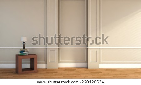 green white classic interior with door. 3D illustration - stock photo