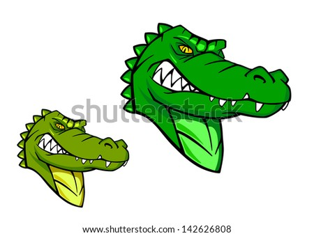 Green wild alligator in cartoon style for sports mascot design or idea of logo. Jpeg version also available in gallery  - stock photo