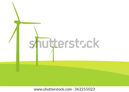 Green Wind mills illustration for natural and ecologic energy with copy space