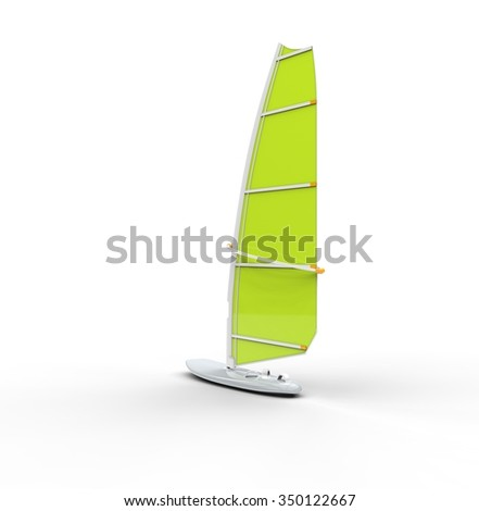 Green windsurf board, isolated on white background, ideal for digital and print design.