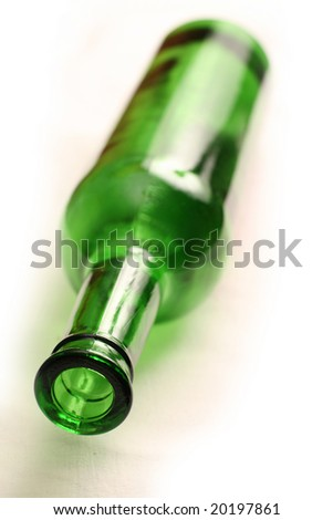 Green wine bottle on white - stock photo