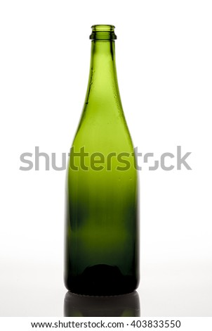 Green wine bottles backlit on white background