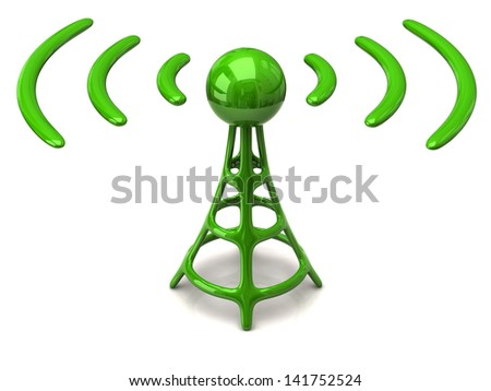 Green wireless icon isolated on white background - stock photo