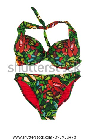 Green with red swimsuit with a pattern. Isolate on white. - stock photo