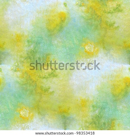 Green with Yellow Seamless Watercolor 2 - stock photo