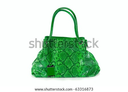 green women bag, fashion of 2011 year isolated on white background - stock photo
