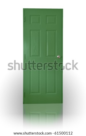 Green wood door with shadow - stock photo
