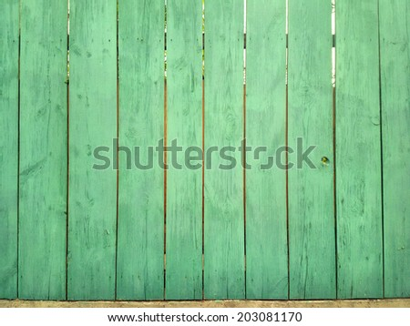 Green wood fence / outdoors photography of wooden fence  - stock photo