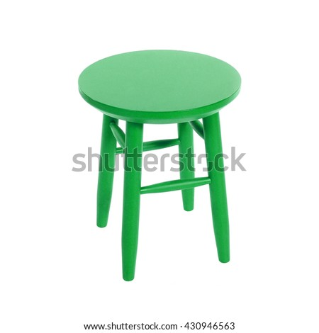 green wooden chair isolated on white background