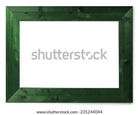 Green Wooden picture frame isolated on white with clipping path - stock photo