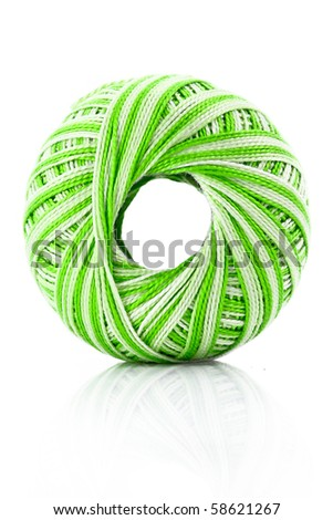 green Wool ball isolated on white - stock photo