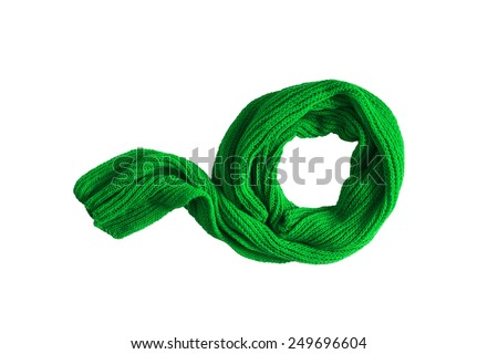 Green wool scarf on white background