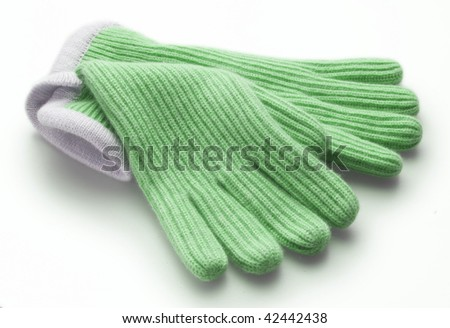 green woolen gloves, isolated over white background