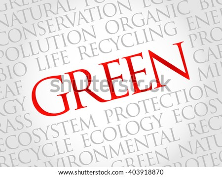 Green word cloud, environmental concept - stock photo