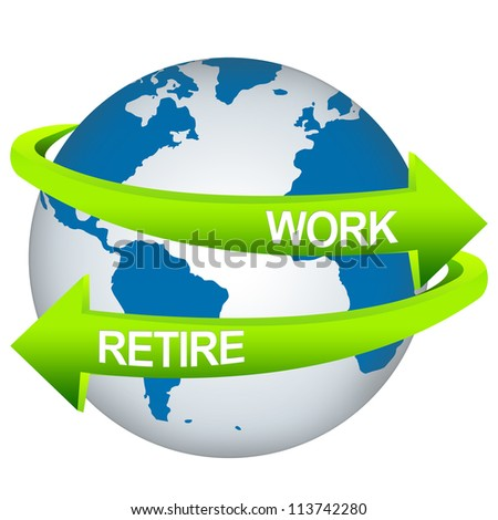 Green Work And Retire Arrow Around The Blue Earth For Business Direction Concept Isolate on White Background - stock photo