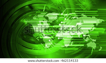 green world abstract cyber future technology concept background, illustration, circuit, binary code.
