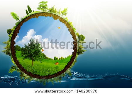 Green World, abstract environmental backgrounds - stock photo