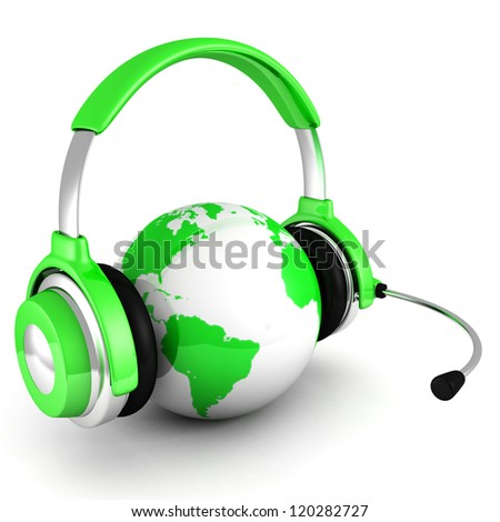 green world globe with headphones and mic