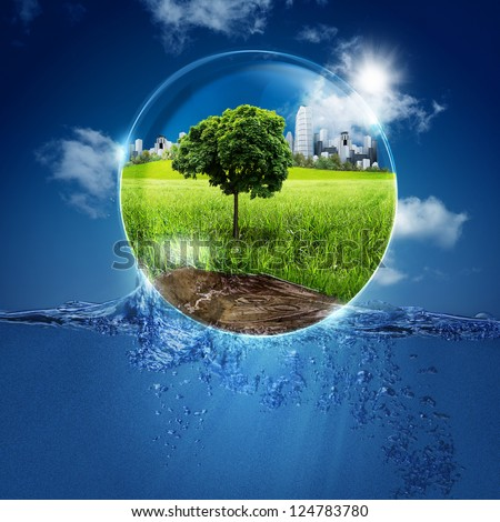 Green world into the bubble. Abstract natural backgrounds for your design - stock photo