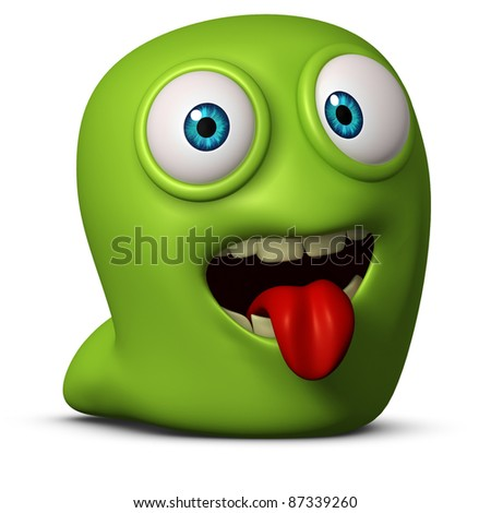 green worm put out his tongue - stock photo
