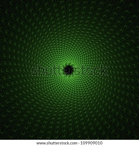 Green wormhole abstract fractal design for backgrounds and wallpapers