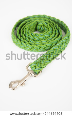 Green Woven Dog Leash Isolated on White  - stock photo