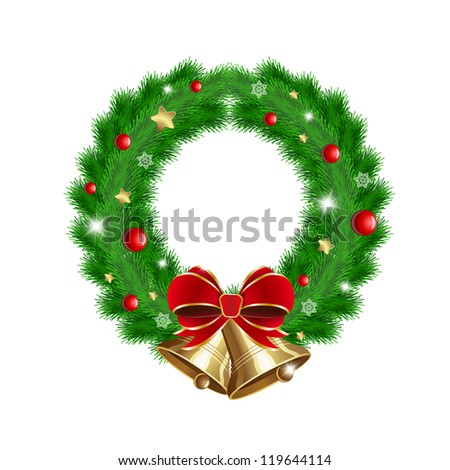 Green wreath with red berries, Christmas decoration and two bells. Raster version - stock photo