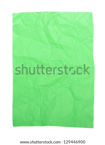 green wrinkled paper (isolated on white background, ready for your design)
