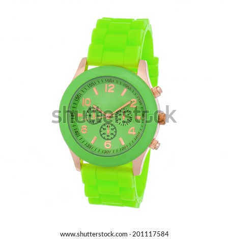 green wristwatch isolated on white background - stock photo