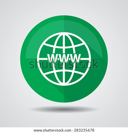 Green Www icon, Internet sign icon. World wide web symbol on a white background.  - stock photo