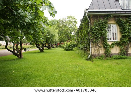 green yard with lawn - stock photo