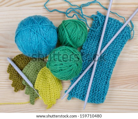 Green yarn for crochet or knitting  - stock photo