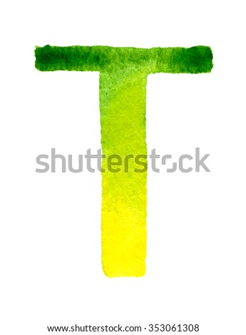 Green yellow gradient watercolor letter