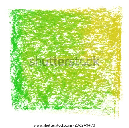 green yellow hand drawn chalk pastel design element, isolated on white background