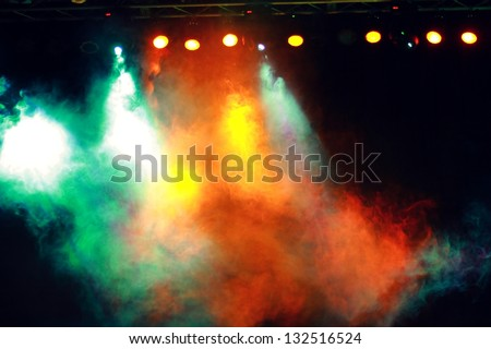 Green, yellow, orange, light, smoke, disco light - stock photo
