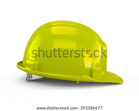 Green Yellow plastic construction helmet isolated on white background.
